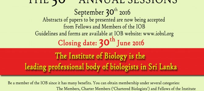 36th Annual Sessions of the Institute of Biology, 2016